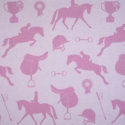 """Tkanina """"Konie"""" w kolorze różowo fioletowym"""