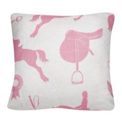 """Poduszka """"Konie"""" w kolorze różowym na beżowym tle"""