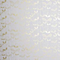 """Tapeta """"Listki Akacji"""" w kolorze biało-złotym"""
