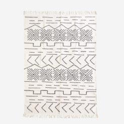 Dywan bawełniany czarno biały z geometrycznym wzorem  mały