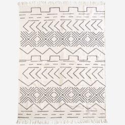 Dywan bawełniany czarno biały z geometrycznym wzorem duży