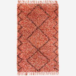 Dywan wełniany z geometrycznym wzorem w kolorze czerwonym