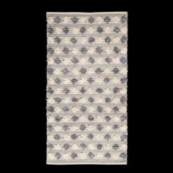 Dywan wełniany z pomponami i cekinami w kolorze szaro białym