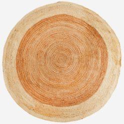 Okrągły dywan z juty w kolorze beżowym