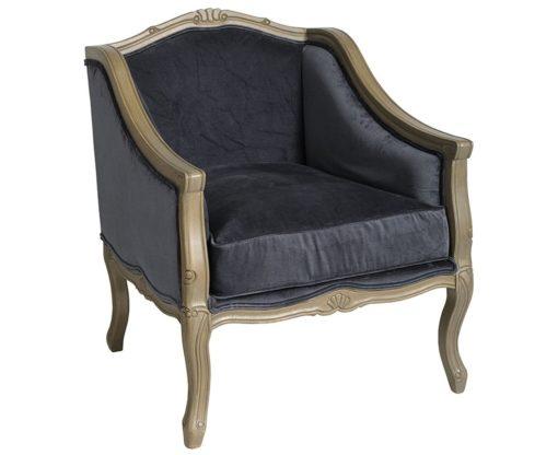 Klasyczny fotel ludwik w kolorze granatowym