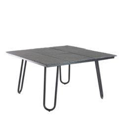 Kwadratowy stolik Zen z kamiennym blatem na metalowych nogach