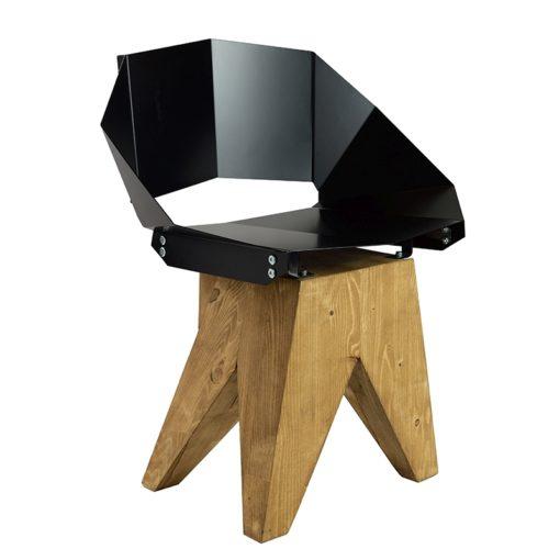 Czarne stalowe krzesło na drewnianej bazie KNIGHT FST0310
