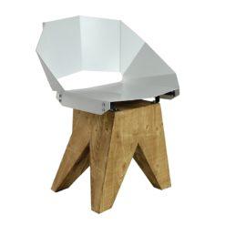 Białe stalowe krzesło na drewnianej bazie KNIGHT FST0311