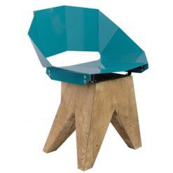 Turkusowe stalowe krzesło na drewnianej bazie KNIGHT FST0314