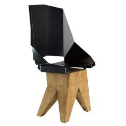 Czarne Duże stalowe krzesło na drewnianej bazie KINGHT FST0320