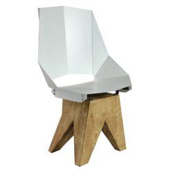 Białe Duże stalowe krzesło na drewnianej bazie KINGHT FST0321