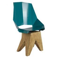 Turkusowe Duże stalowe krzesło na drewnianej bazie KINGHT FST0324