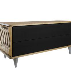 Komoda drewniana srebrno brązowa Organique dwie szuflady FUR0082