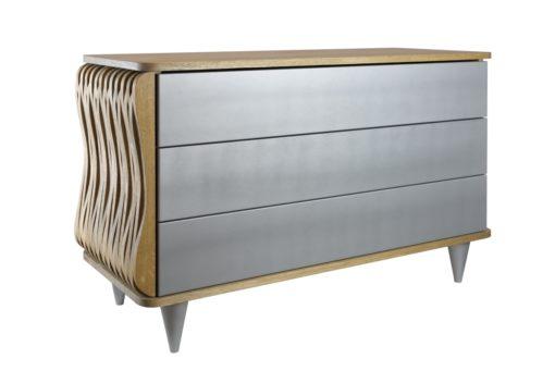 Komoda drewniana srebrno brązowa Organique trzy szuflady FUR0091