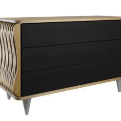 Komoda drewniana czarno brązowa Organique trzy szuflady FUR0092