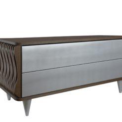 Komoda drewniana srebrno ciemnobrązowa Organique dwie szuflady FUR0101