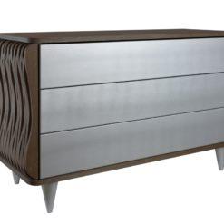 Komoda drewniana srebrno ciemnobrązowa Organique trzy szuflady FUR0111