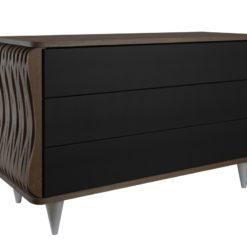 Komoda drewniana czarno ciemnobrązowa Organique trzy szuflady FUR0112