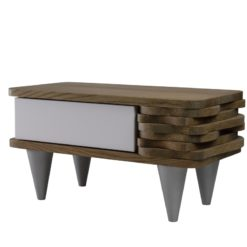 Stolik nocny drewniany ORGANIQUE biało brązowy 1 szuflada