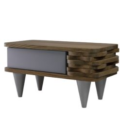 Stolik nocny drewniany ORGANIQUE srebrno brązowy 1 szuflada