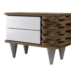 Stolik nocny drewniany ORGANIQUE biało brązowy 2 szuflady