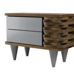 Stolik nocny drewniany ORGANIQUE srebrno brązowy 2 szuflady