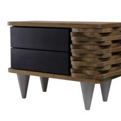 Stolik nocny drewniany ORGANIQUE czarno brązowy 2 szuflady