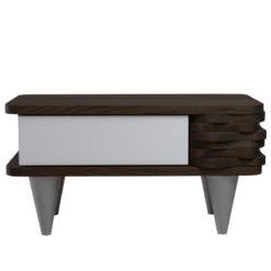 Stolik nocny drewniany ORGANIQUE biało ciemnobrązowy 1 szuflada