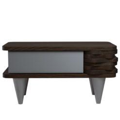 Stolik nocny drewniany ORGANIQUE srebrno ciemnobrązowy 1 szuflada
