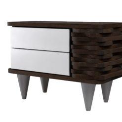 Stolik nocny drewniany ORGANIQUE biało ciemnobrązowy 2 szuflady
