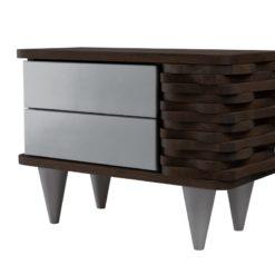 Stolik nocny drewniany ORGANIQUE srebrno ciemnobrązowy 2 szuflady