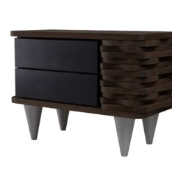Stolik nocny drewniany ORGANIQUE czarno ciemnobrązowy 2 szuflady