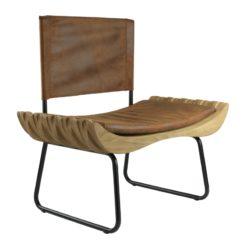 Fotel drewniany z brązowym siedziskiem ORGANIQUE FST0280