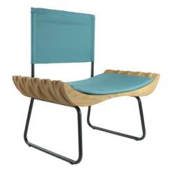 Fotel drewniany z turkusowym siedziskiem ORGANIQUE FST0282