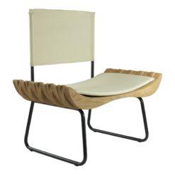 Fotel drewniany z beżowym siedziskiem ORGANIQUE FST0283