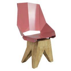 Stalowe krzesło na drewnianej bazie KNIGHT big różowe FST0325