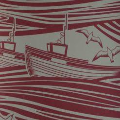 Tapeta retro ze statkami w kolorze bordowym