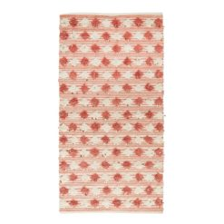 Dywan wełniany z pomponami i cekinami w kolorze różowo białym
