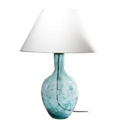 Lampa stołowa szklana turkusowa z abażurem RAFAELLO LGH0071