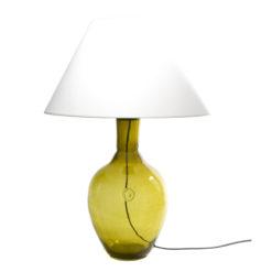 Lampa stołowa szklana oliwkowa z abażurem RAFAELLO LGH0072