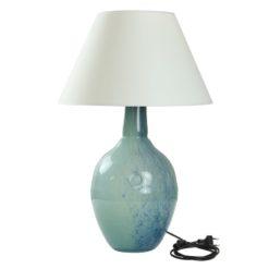 Lampa stołowa szklana turkusowo-zielona z abażurem RAFAELLO LGH0073