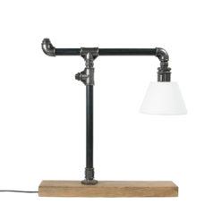 Lampa stołowa stalowa LANTERN czarna z abażurem LGH0080