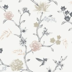 Tapeta Decor Maison Babette 3706-41 Flower Bird Grey