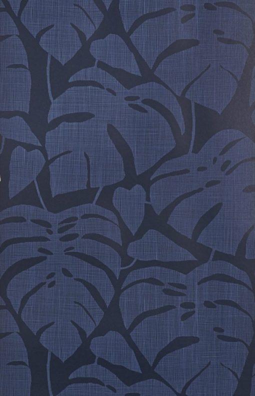 """Tapeta """"Tropikalne Liście"""" w kolorze granatowym"""