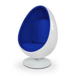 Fotel OVALIA biało-niebieski - włókno szklane