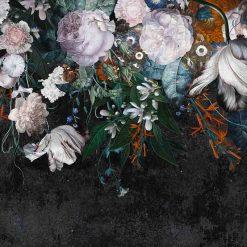 Fototapeta Wonderwall Fiori 35075500 czarna duże kwiaty