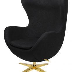 Fotel EGG SZEROKI GOLD czarny.4 - wełna