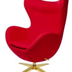 Fotel EGG SZEROKI GOLD czerwony.1 - wełna