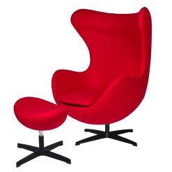 Fotel EGG CLASSIC BLACK z podnóżkiem - czerwony.17- wełna