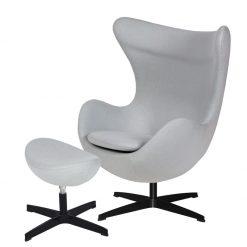 Fotel EGG CLASSIC BLACK z podnóżkiem  - szary popielaty.18